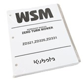 9Y121-00090 Kubota Service Manual for ZD321, ZD326 & ZD331 Diesel Zero Turn Mowers